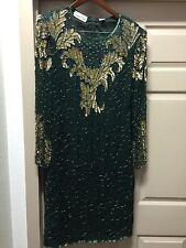 Lawrence Kazar 1X Beaded Women's Dress Dark Green 100% Silk India 042316