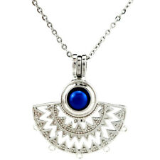K742 Fan shapes Filigree Pearl Cage Pendant Necklace Locket Charms 20""