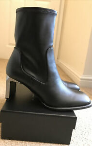 Zara Ankle Boots With Metallic Heels Shoes In Black Size 7. Soft Upper. BNWT