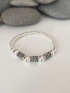 Chunky Sterling Silver Bracelet. Decorative Silver Beaded Stretch Bracelet