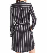 NWT Gap Printed tie-belt long sleeve shirtdress, Black Print SIZE M    #358494