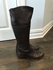 Vince Camuto Signature Boot Snakeskin Look Brown Riding Motorcycle Chocolate