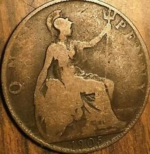 1905 UK GB GREAT BRITAIN ONE PENNY
