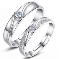 1Pair Elegant Crystal Silver Plated Couple Ring Marriage Ring Fashion Jewelry