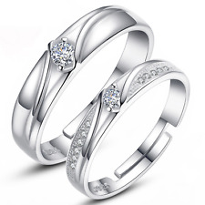 2Pc Lover Couple Ring 925 Silver Plated Her His Crystal Wedding Promise Ring Set