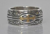 Konstantino Men's Cross Ring Band Size 10 Sterling Silver 18K Gold  Heonos New