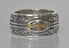 Konstantino Men's Cross Ring Band Size 11 Sterling Silver 18K Gold  Heonos New