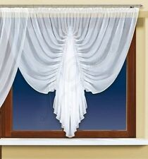 "Curtain with trimming and made of white voile with curtain tape 63"" x 118"" NEW"