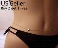 Women Waist Chain Belly Bikini Body Jewelry Rhinestone Back Chain Beach Style E