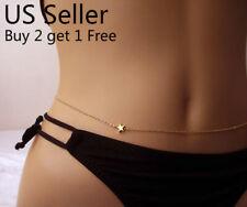 Women Waist Chain Belly Bikini Body Jewelry Rhinestone Back Chain Beach Style C