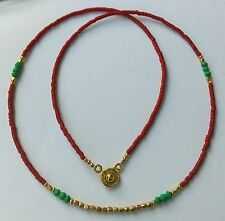 Afghan Natural Malachite, Brown Red Glass Gold Plated Tiny Seed Beads Necklace