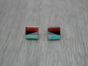 Beautiful Vintage Sterling Silver Zuni Native American Inlay Gem Stud Earrings