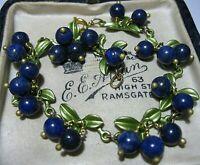 Gorgeous Vintage Style Real Lapis Lazuli Stone BEAD Blueberries Enamel BRACELET