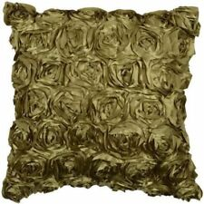Ribbon Rose Cushions Luxury Sofa Bed Faux Silk Floral Cushion Covers Green Olive