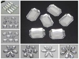 Craft DIY Clear Acrylic Flatback Faceted Rhinestone Gems No Hole Various Shape