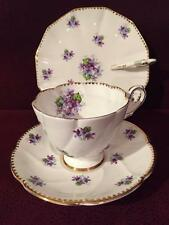 """STUNNING ROYAL STAFFORD """"SWEET VIOLETS"""" CUP AND SAUCER SET + NAPPY PLATE ENGLAND"""