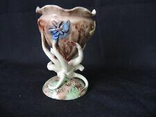 Vase Art Nouveau en barbotine, papillons tentacules pot a jacinthe . Original.
