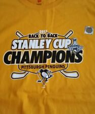 PITTSBUEGH PENGUINS 2017 BACK TO BACK STANLEY CUP CHAMPIONS T-Shirt! New W/Tag!!