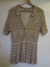 Gold - Brown Short Sleeve Crochet Hip Length Cardigan in Size 12 - 14
