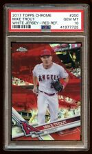 POP 1 PSA 10 MIKE TROUT 2017 TOPPS CHROME #D 3/5 RED REFRACTOR WHITE JERSEY