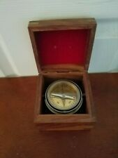 Vintage Gimbaled Brass Nautical Ship Compass Mounted in Wooden Box