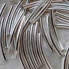 "10 Perlen Abstandhalter ""Rohr gebogen"" glatt MTL Silber hell 2X25 mm Loch 1,5 mm"
