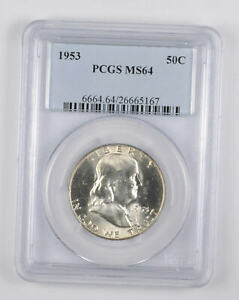 1953 MS64 Franklin Half Dollar - 90% SILVER - - PCGS Graded *096