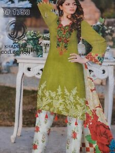 PAKISTANI KHADDAR D#1758 3 PCS SUIT WITH WOOL SHAWL STITCHED EMBROIDERED