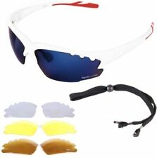 Occhiali e monolente da ciclismo con lenti in blu con montatura in bianco, per uomo