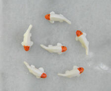 "Miniature Dollhouse FAIRY GARDEN ~ 6 TINY ⅜"" White Goldfish Koi Fish Pond ~ NEW"