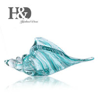 Hand Blown Blue Glass Murano Art Style Seashell Conch Sculpture Ocean Home Gift