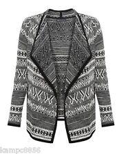 Nuevo M&S Colección Negro & Cream Frente Abierto Cárdigan De Impresión Navajo Talla UK 12