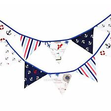 12 Flags 3.2m Pirate Theme Cotton Fabric Vintage Bunting Pennant Flags Hanging