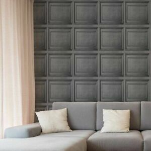 Fresco Dark Grey Wood Panelling Wallpaper