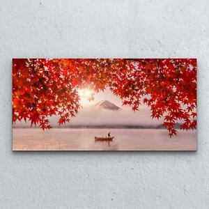 Tempered Glass Print Photo Art Decoration  100x50 Boat Autumn Landscape Fuji