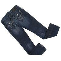 Big Star Junior Sz 25L (27 x 30.5) Nico Straight Leg Distressed Jeans Dark Denim
