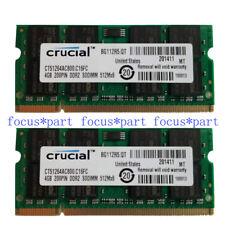 Crucial 8GB 2X 4GB DDR2 PC2-6400 800MHZ 200pin Laptop Memory Sodimm Ram Non-ECC