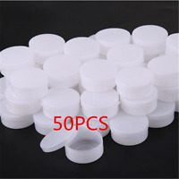 50PCS White Plastic Cosmetic Sample Container 10g Jars Pot Small Empty New TR