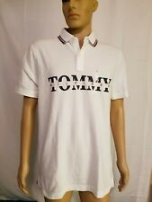 Tommy Hilfiger Polo Shirt White Blue Spellout Custom Fit Mens Large S/S $59.50