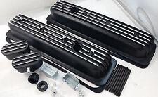SB Chevy SBC Black Finned Center Bolt Aluminum Valve Cover Kit W / Breathers