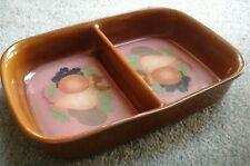 DENBY HANDCRAFTED FINE STONEWARE TWIN  RECTANGULAR SERVING DISH  FRUIT DESIGN