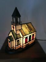 NIB Vtg Stained Glass School House Table Lamp Night Light Village, Tiffany Style