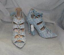 QUPID NWT Light Blue Distressed Denim Lace Up Peep Toe Heel Shoes sz 8
