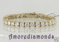 6.2 ct D SI1 natural round idealdiamond 4 prong tennis bracelet 14k yellow gold