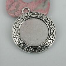 2pcs tibetan silver color round rim cabochon settings EF0425
