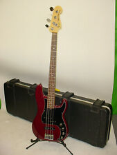 Fender American Deluxe Precision P-Bass Bass Guitar - 2011 Wine Transparent