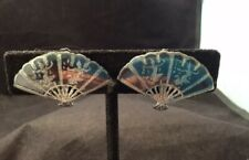 Vintage SIAM Fan Dancer Sterling Silver Screw Back Earrings 925