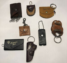 Vintage leather Pouch And Other Keychain Lot Of 8 Horse Saddle Gun Holster + L24