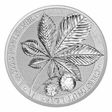 Mythical Forest Chestnut Leaf 1 oz 2021 Germania Mint 5 Mark Silver Coin w/ COA