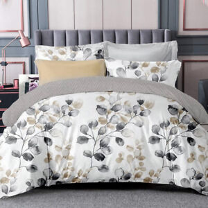All Size Bed Ultra Soft Quilt Duvet Doona Cover Set Bedding Pillowcase Leaves